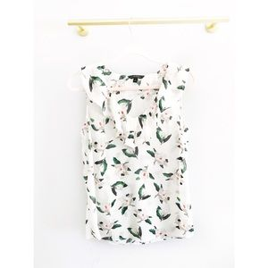 Banana Republic White Green Floral Sleeveless Top